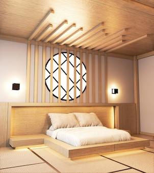 Diseño de dormitorio de madera japonesa con listones y diseño de pared con luz oculta.