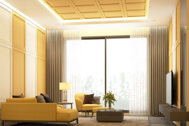 Diseño de escena de imagen de interiores de tono amarillo moderna sala de estar de lujo con decoración de pared de detalle de elemento clásico y conjunto de muebles representación 3d