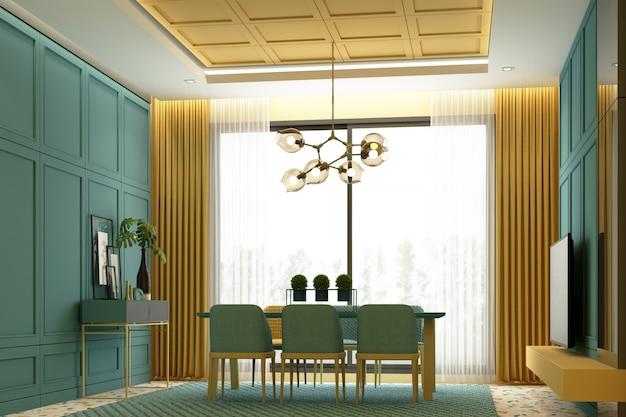 Diseño de escena de imagen de interiores de tono amarillo y verde área de comedor de lujo moderna con decoración de pared de detalle de elemento clásico y juego de muebles renderizado 3d
