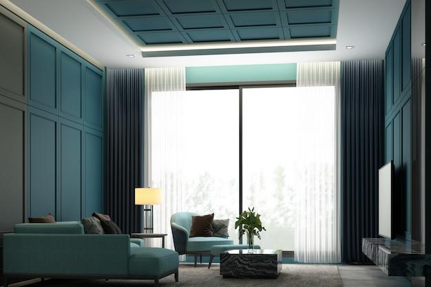 Diseño de escena de imagen de interiores de tono verde moderna sala de estar de lujo con decoración de pared de detalle de elemento clásico y conjunto de muebles representación 3d