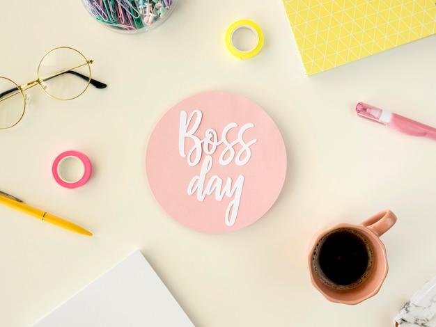 Diseño de etiqueta del día del jefe