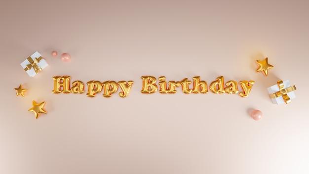 Diseño de feliz cumpleaños con caja de regalo, estrella dorada. representación 3d