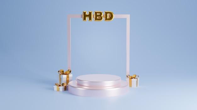 Diseño de feliz cumpleaños con caja de regalo, marco y podio de forma geométrica. representación 3d