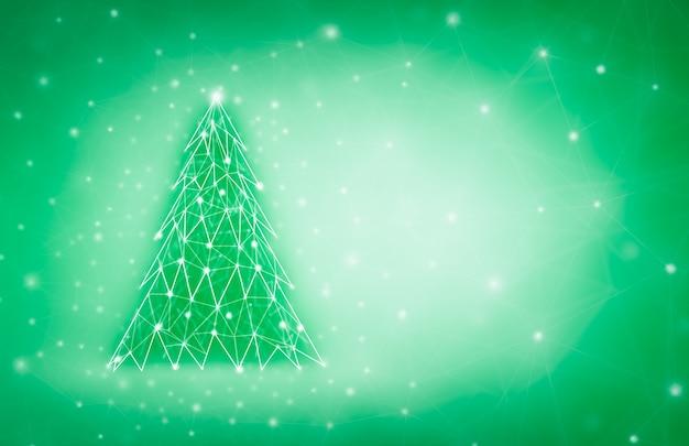 Diseño de feliz navidad y año nuevo con árbol de navidad de baja poli. tarjeta navideña formada por puntos y líneas.
