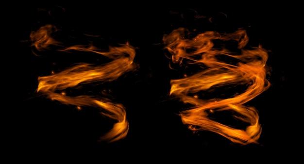 Diseño de fuego sobre fondo negro. de cerca