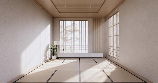 Diseño de gabinete, sala blanca interior moderno, estilo japonés. representación 3d