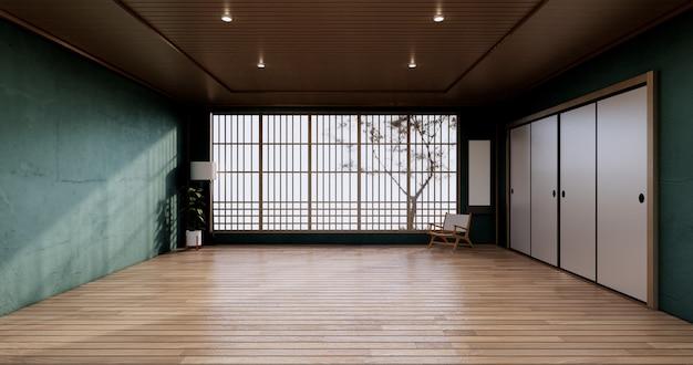 El diseño de gabinete vintage, sala de estar verde con sillón de estilo japonés.representación 3d.