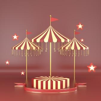 El diseño geométrico abstracto del carnaval de la forma para el podio 3d de la exhibición del cosmético o del producto rinde.