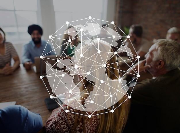 Diseño gráfico global de enlaces de red