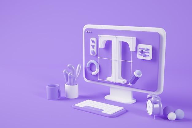 Diseño gráfico surrealista escritorio 3d rendering
