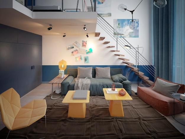 Diseño de una habitación para adolescentes en estilo loft con un sofá y mueble de tv y una escalera al segundo nivel.