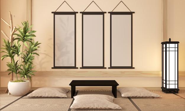Diseño de la habitación ryokan estilo muy japonés, representación 3d