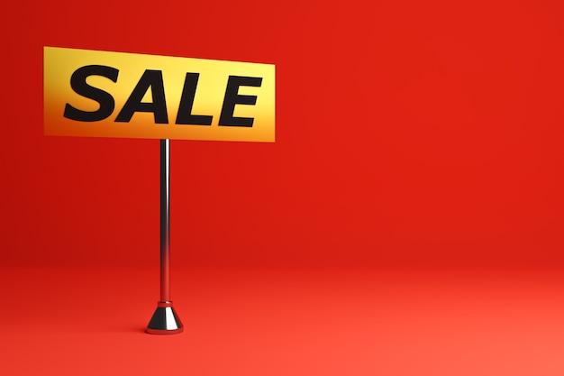 Diseño de ilustración 3d de una pancarta en una placa rectangular amarilla en una pierna para ventas mega-grandes con la venta de inscripción.