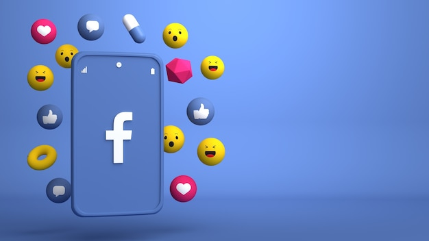 Diseño de ilustración 3d de teléfono de facebook y apareciendo iconos