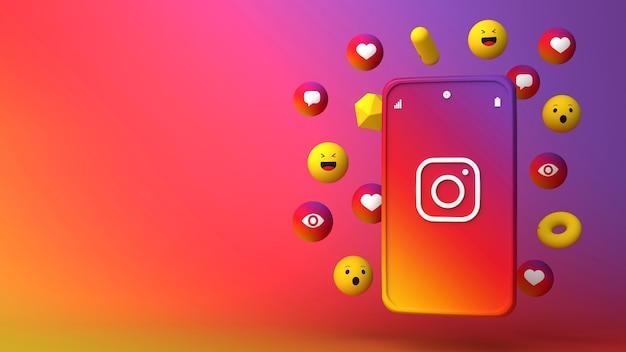 Diseño de ilustración 3d de teléfono instagram y apareciendo iconos