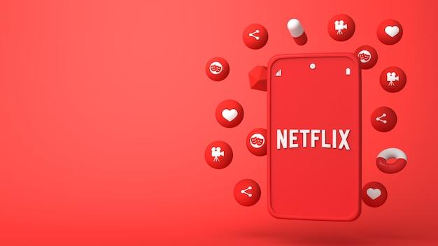Diseño de ilustración 3d del teléfono netflix y apareciendo iconos