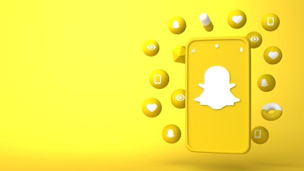 Diseño de ilustración 3d de teléfono snapchat y apareciendo iconos