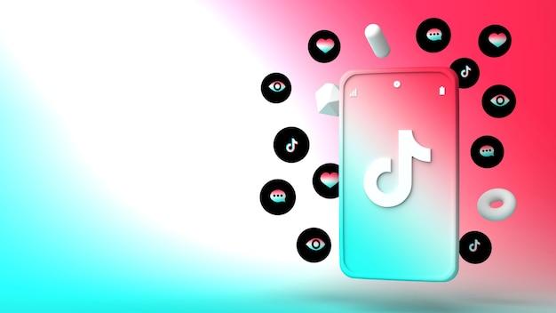 Diseño de ilustración 3d del teléfono tiktok y apareciendo iconos
