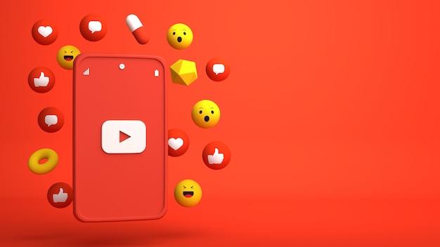 Diseño de ilustración 3d de teléfono de youtube y apareciendo iconos