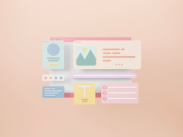 Diseño de interfaz de página web concepto de diseño y desarrollo web optimización de la interfaz de usuario representación 3d