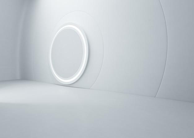 Diseño interior abstracto de sala de exposición moderna con piso de concreto vacío y pared blanca
