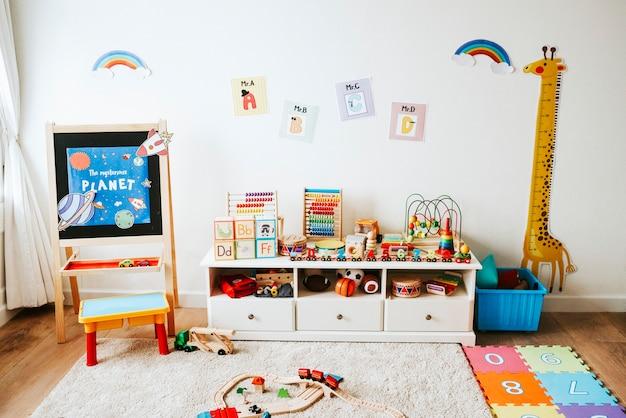 Diseño interior de un aula de jardín de infantes.