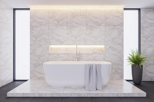 Diseño interior de baño moderno, bañera blanca con baldosas de mármol.