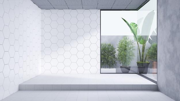 Diseño interior de baño moderno, habitación vacía, pared de azulejos blancos y piso de concreto, render 3d