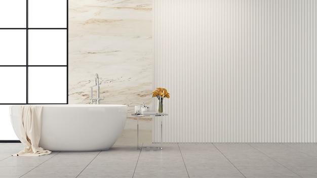 Diseño interior de baño moderno y loft, bañera blanca con pared de mármol