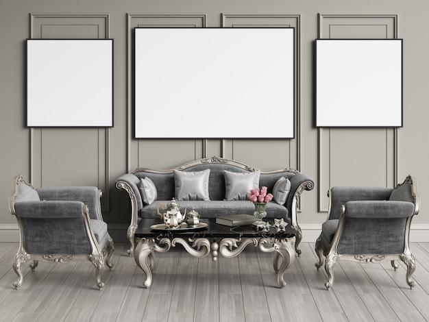 Diseño interior clásico con espacio de copia. maqueta. ilustración digital representación 3d