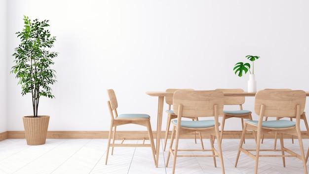 Diseño interior de comedor minimalista, mesa de madera y silla de madera en sala blanca, render 3d