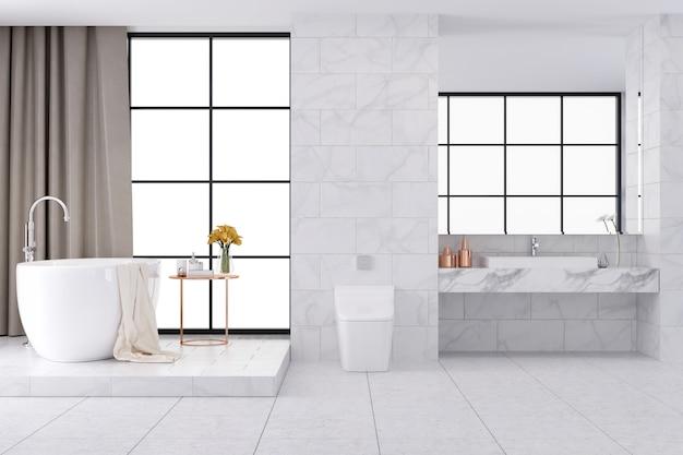 Diseño interior del cuarto de baño de lujo espacioso blanco, representación 3d