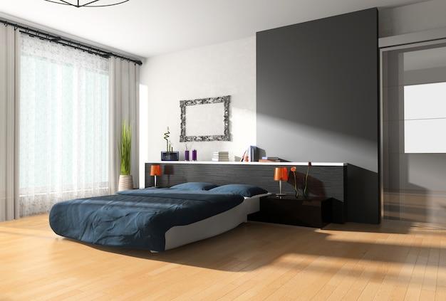 Diseño interior de un dormitorio.