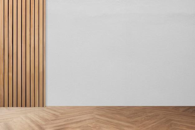 Diseño interior de habitación mínima vacía con suelo de espina de pescado