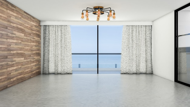 El diseño interior de la habitación vacía y la sala de estar de estilo moderno con ventana o puerta y piso de losa.