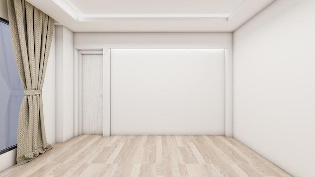 El diseño interior de la habitación vacía y la sala de estar de estilo moderno con ventana o puerta y piso de madera
