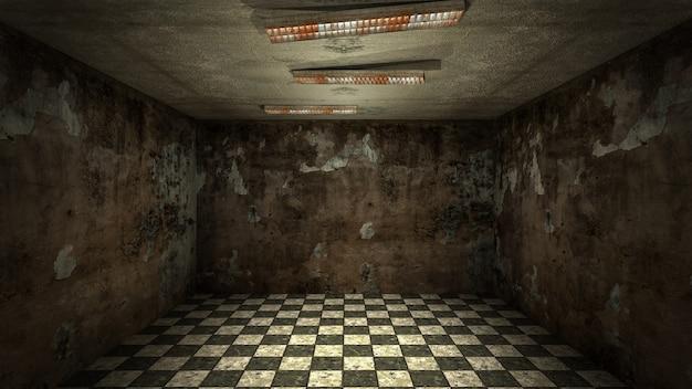 El diseño interior de la habitación vacía de terror y daño espeluznante, representación 3d.