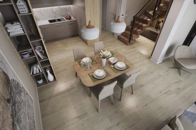 Diseño interior de habitaciones de lujo en 3d