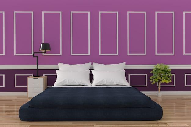 Diseño interior de loft de dormitorio minimalista en pared púrpura y sala de piso de madera en representación 3d