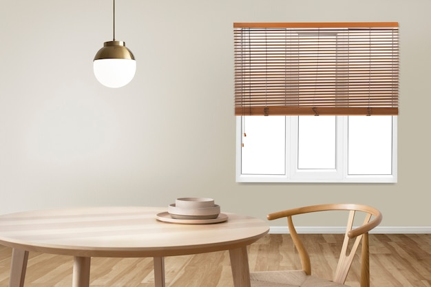 Diseño interior minimalista y auténtico de comedor