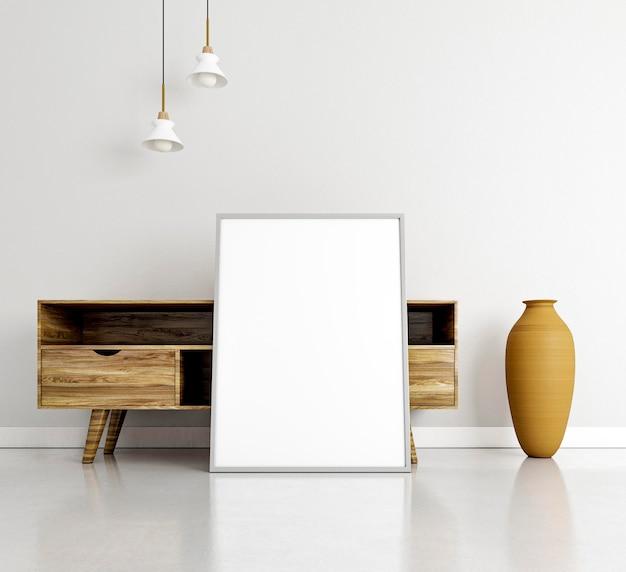 Diseño interior minimalista con marco y escritorio.