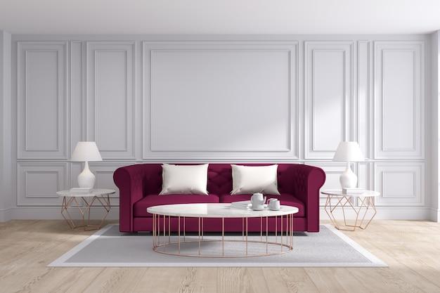 Diseño interior moderno y clásico de la sala de estar, representación 3d