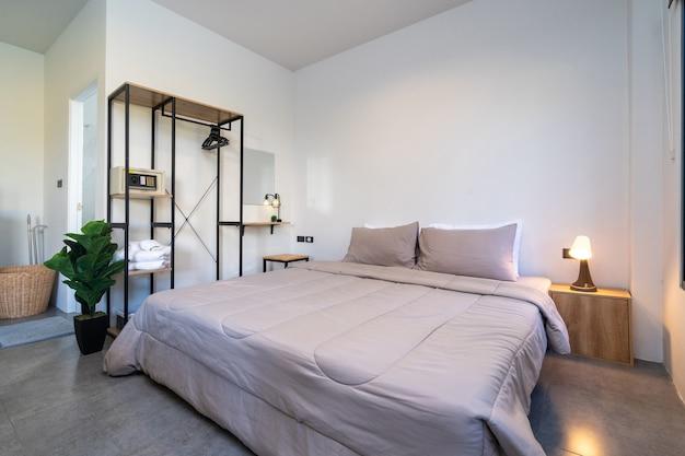 Diseño interior moderno de dormitorio de lujo.