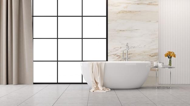Diseño interior moderno y loft del baño, bañera blanca con pared de mármol, renderizado 3d