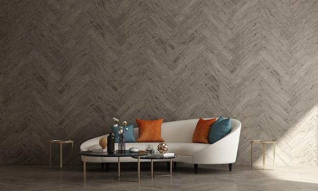 Diseño interior moderno de mediados de siglo de sala de estar y fondo de patrón de pared de madera