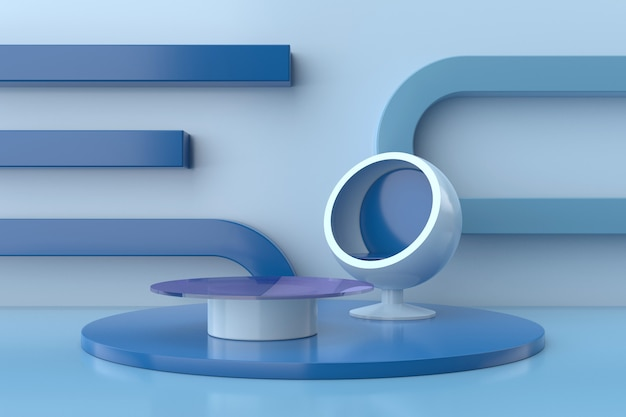 Diseño interior moderno con tono azul. representación 3d