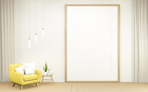 El diseño interior tiene un sillón en el diseño japonés de la habitación vacía, representación 3d