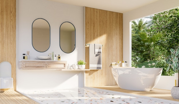 Diseño de interiores de baño moderno en la pared blanca, representación 3d