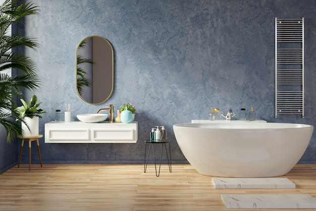 Diseño de interiores de baño moderno en la pared de color azul oscuro, representación 3d