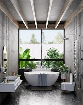 Diseño de interiores de baño moderno en la pared de color oscuro, representación 3d
